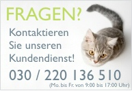 Wenn Sie Fragen rund um den Katzenkratzbaum haben, rufen Sie die Katzenbaum-Hotline an: 030 398 209 948